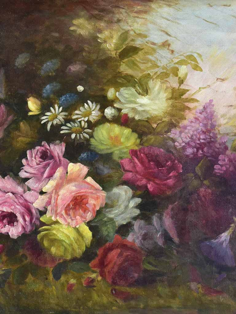 "Late 19th Century floral still life oil on canvas 36½"" x 27½"""