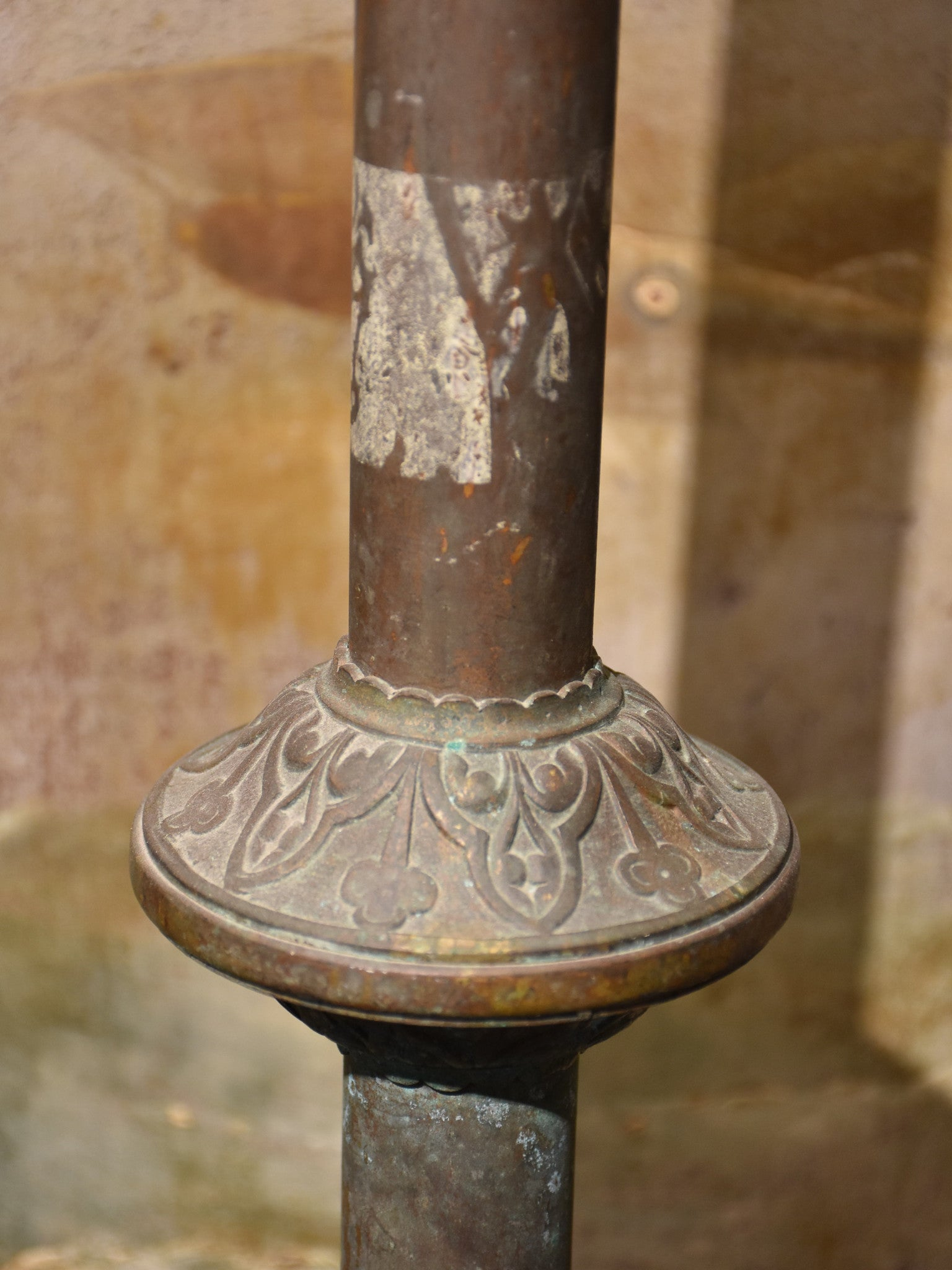 Large antique French candlestick - copper