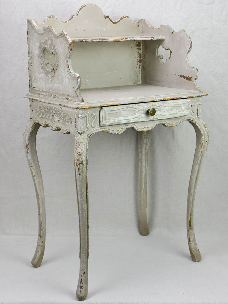 Superb early 20th Century Louis XV style nightstand with gray patina