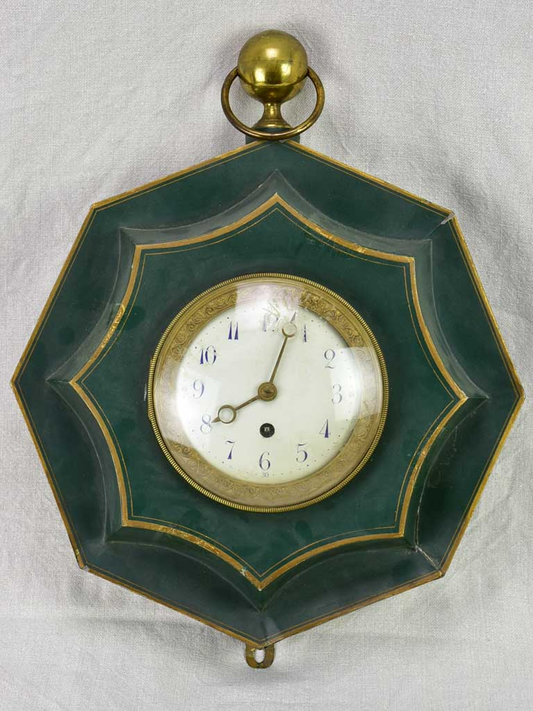 Green antique French clock from the early 20th century 15""