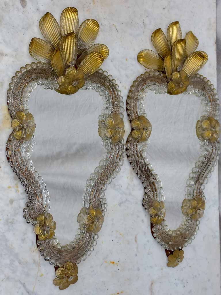 "Pair of antique Venetian mirrors - gold 20½"" x 10¼"""