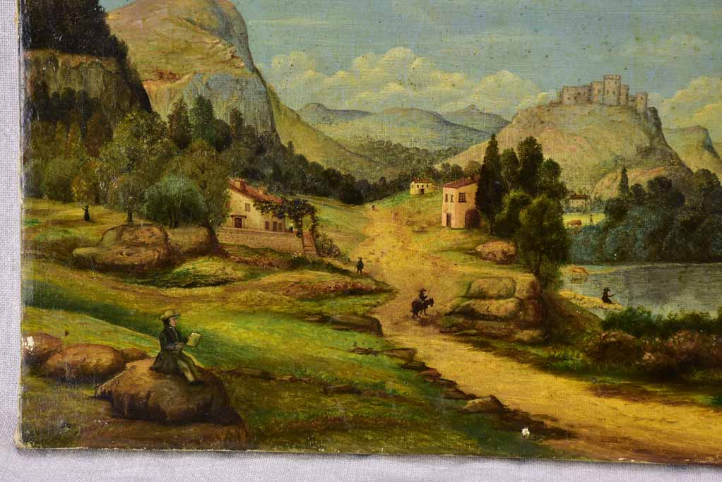 19th Century landscape painting. Oil on canvas, likely Swiss 17¼ x 14¼""""