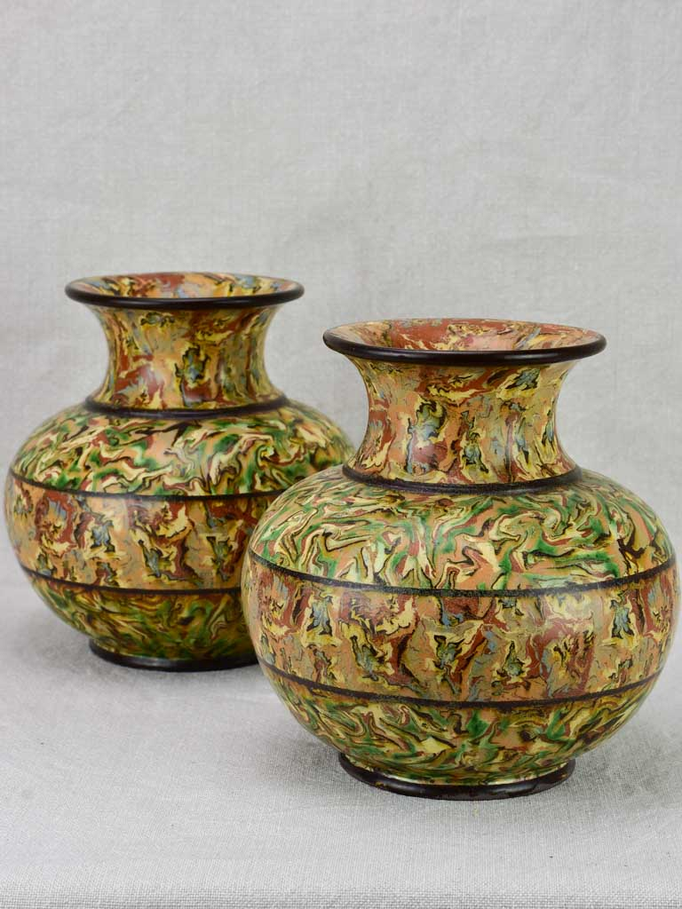 Rare pair of marbelized ceramic vases - Pichon Uzes 8¼""