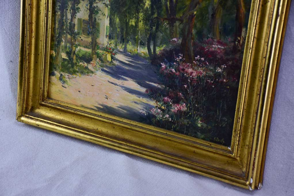 "RESERVED JR Antique French painting of a farmhouse in a forest - oil on canvas. Signed A. Bailly 19"" x 22"""