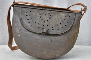 RESERVED MA Antique French metal fishing bag with leather strap