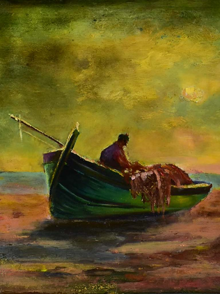 "Antique French coastal painting of a fishing boat signed. M. Barret (1865-1929) 19¾"" x 23¾"""