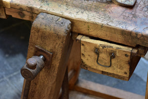 Rustic vintage French workbench
