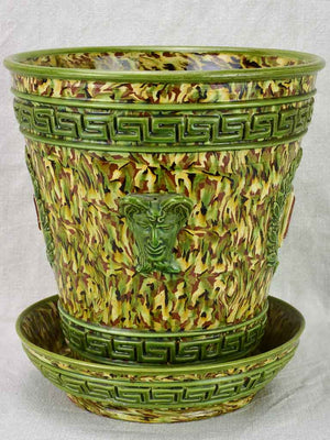 Rare cachepot from Uzes with LM monogram - marbleized green faience