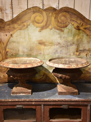 Pair of antique French Medici urns – cast iron