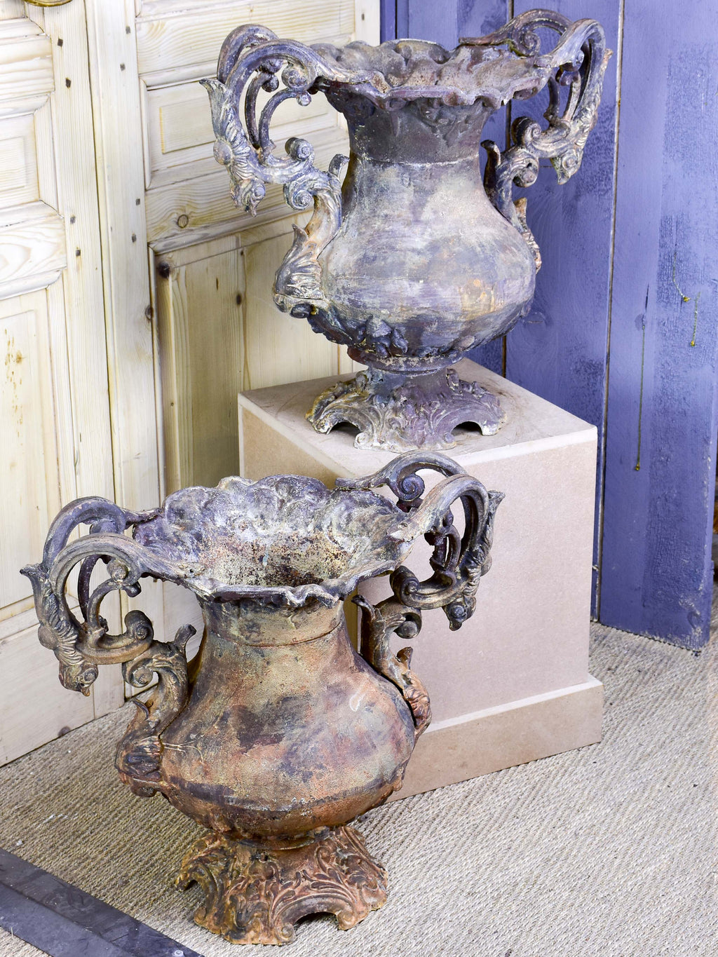 Pair of early 19th century Parisian garden urns