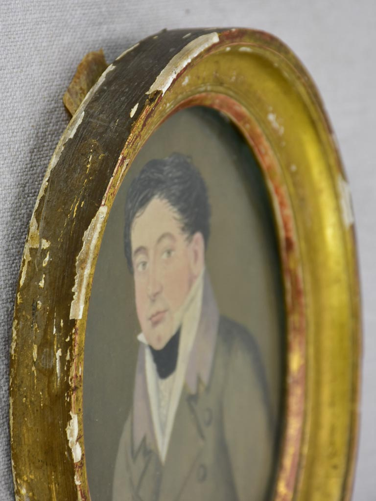 "Small 19th Century French portrait of a man in an oval frame 7½"" x 6¼"""
