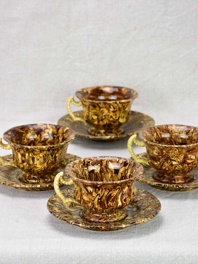 Rare set of four antique French cups and saucers from Apt - nougatine