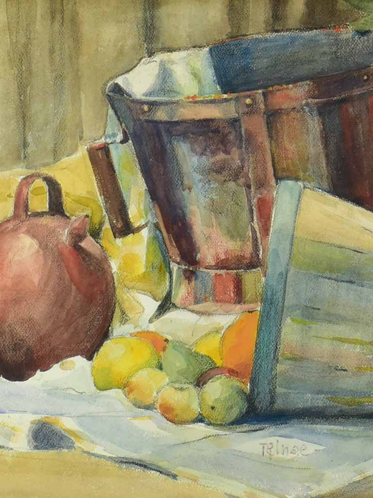 "Vintage French watercolor still life - fruit and baskets 28¾"" x 23¼"""