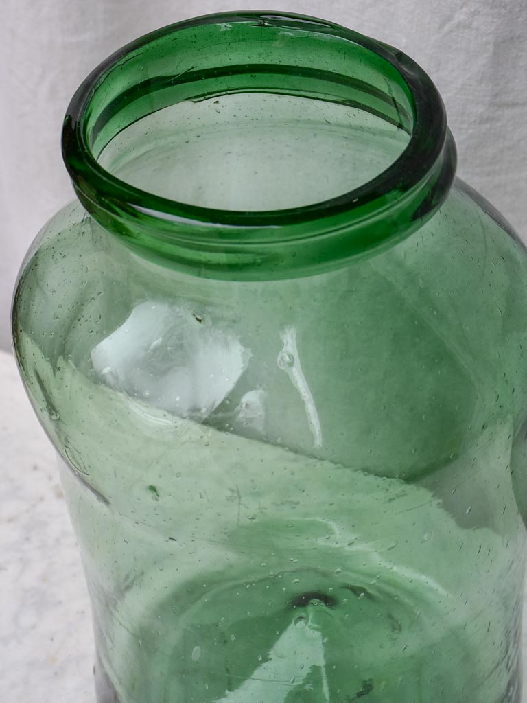 Large 19th Century preserving jar - green blown glass 16¼""