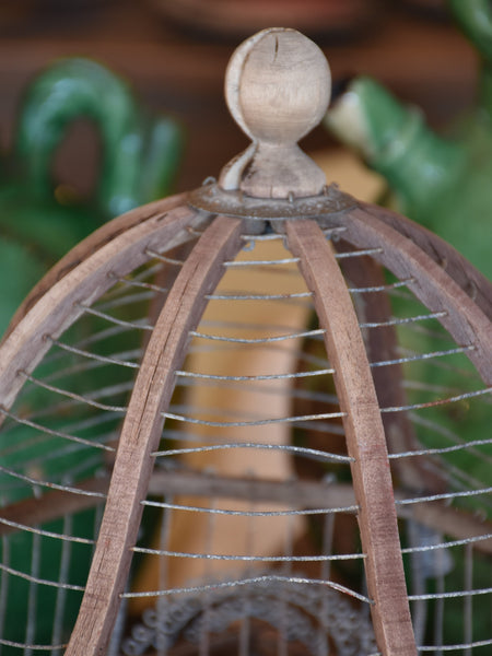 Antique French birdcage with zinc feeders