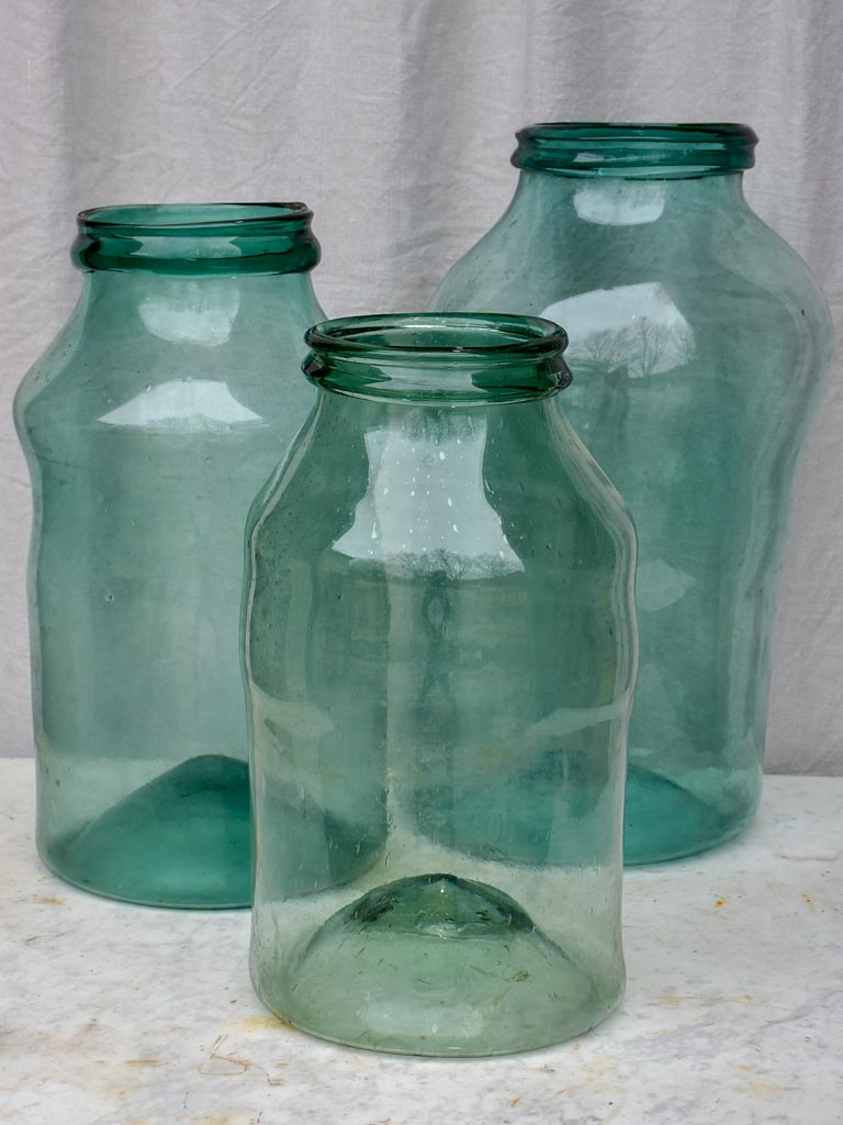 Collection of three very large 19th Century preserving jars - blown glass 20½""