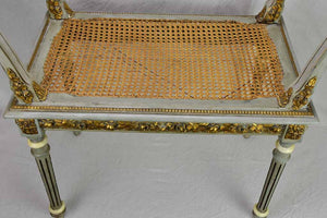 Antique French Louis XVI style bench seat with cane