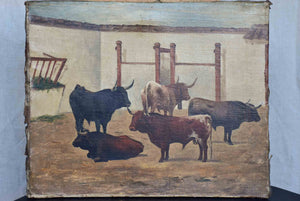 Antique painting of bulls in farm stables 13 ¼'' x 16 ¼''