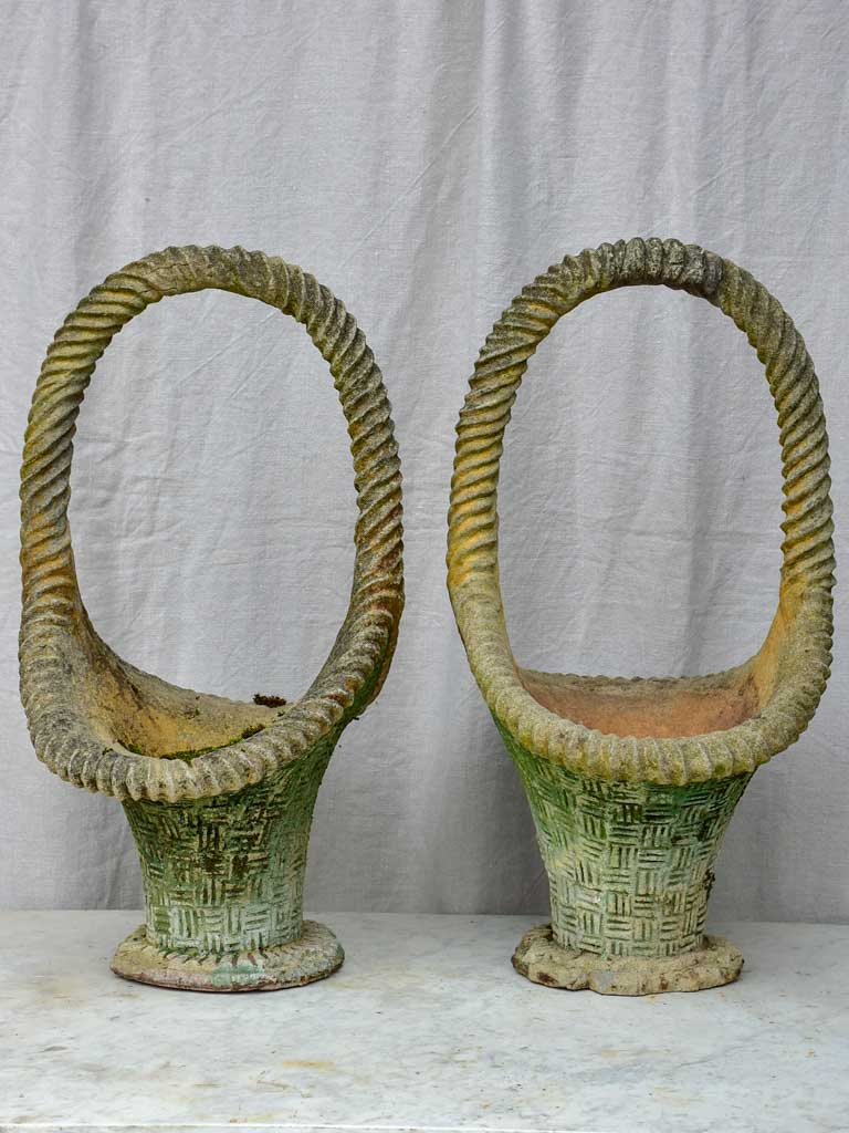Large pair of vintage French planters in the shape of baskets