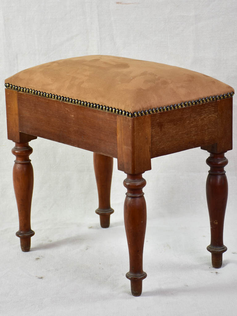 Antique French wooden stool with storage