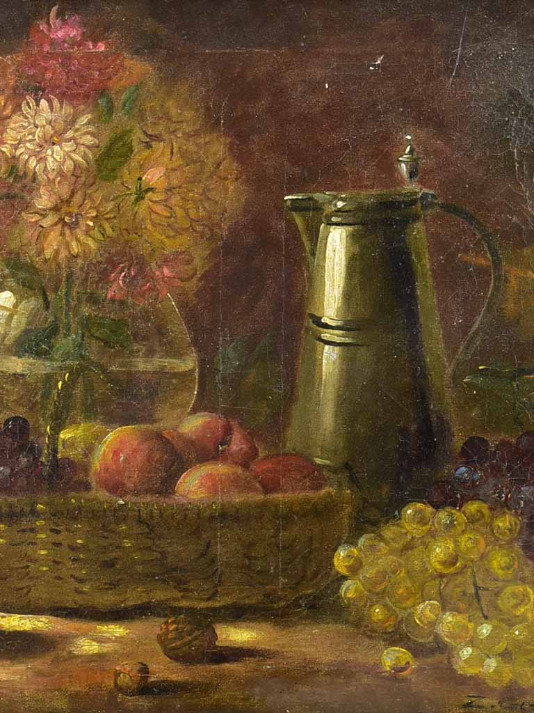 "Antique French still life with Dahlias and autumn fruit. Oil on canvas. Signed 23¼"" x 19¾"""
