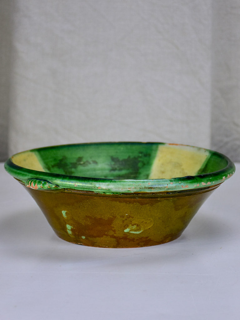 Antique Spanish bowl - green and yellow