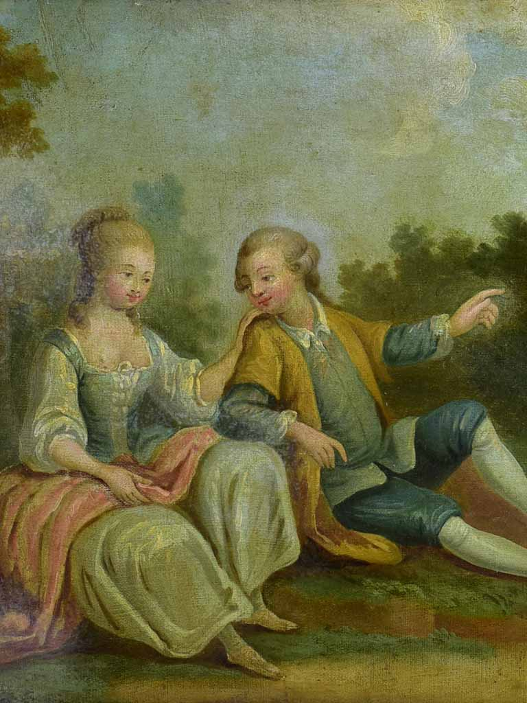 "18th Century Romantic portrait painting. Oil on canvas in gilded frame 26½"" x 22"""