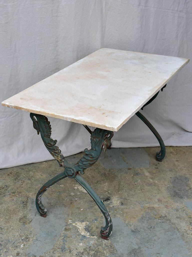 "Rectangular antique French garden table with cast iron swan base and marble top 43¼"" x 24½"""