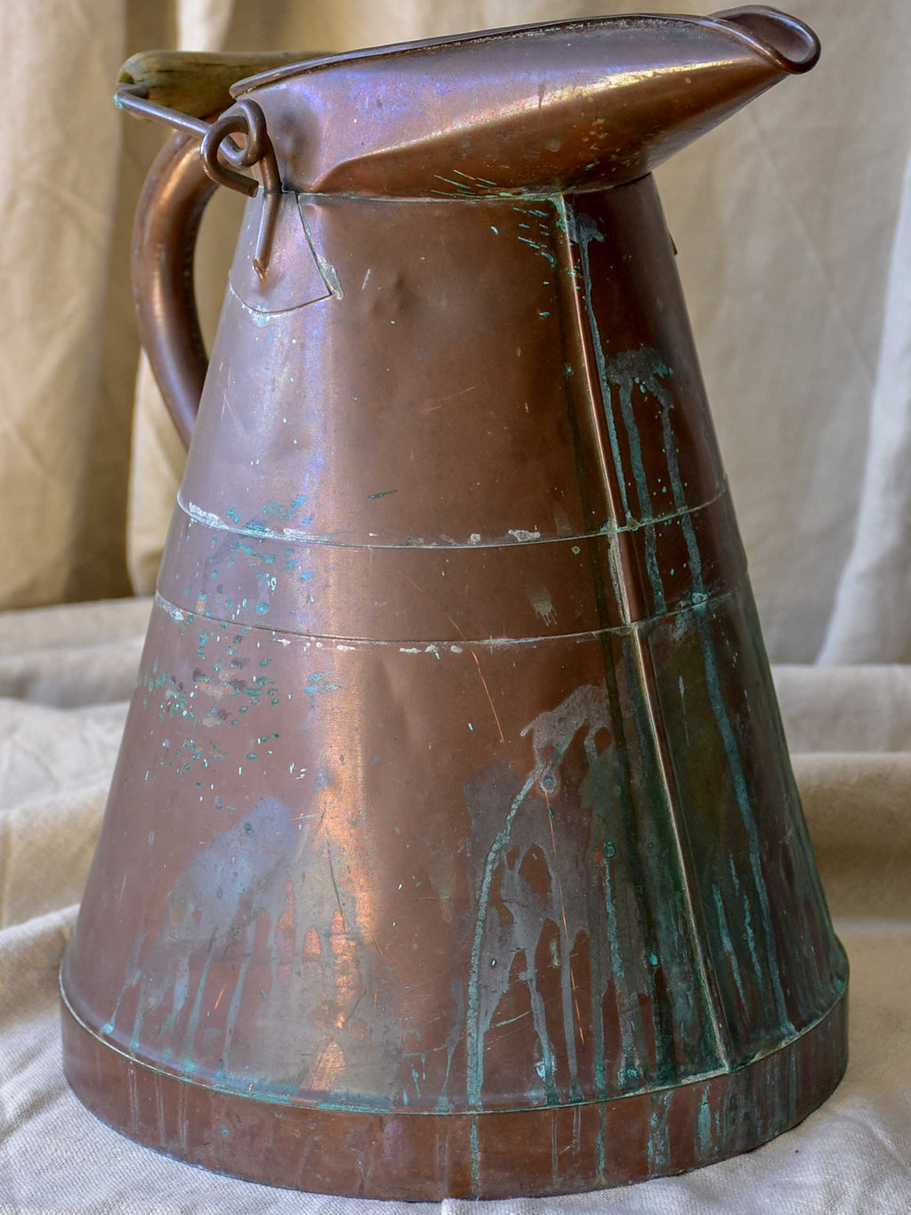 Antique French copper water pitcher with wooden handle