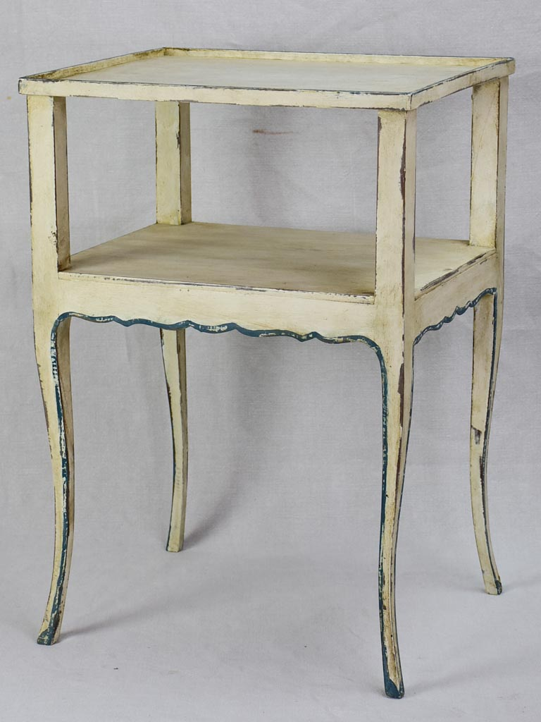 Pretty Louis XV style side table/ night stand with beige and blue patina