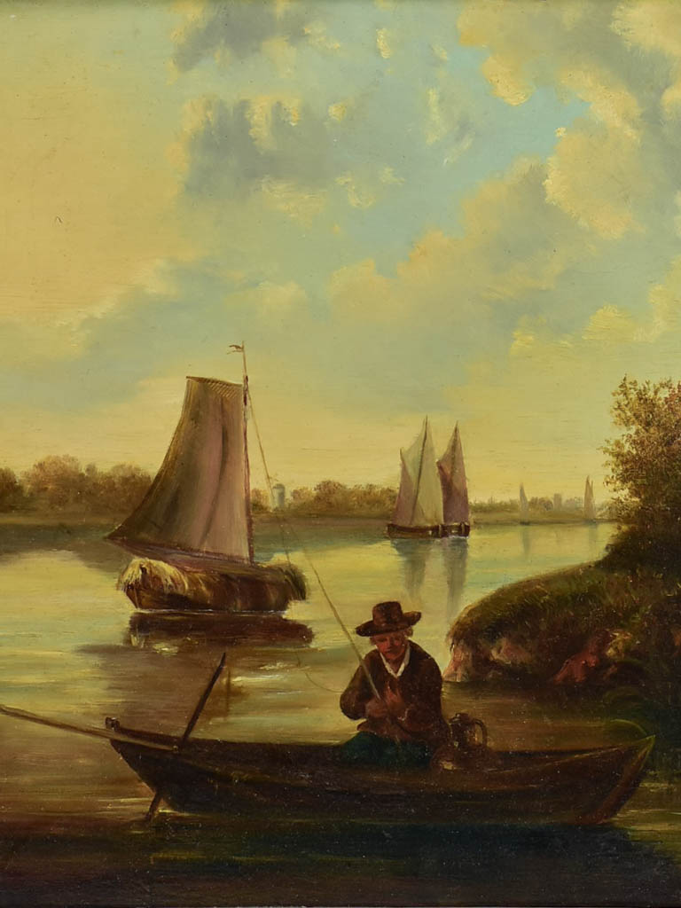 "19th Century Dutch painting with sailboats. Oil on wood 23¾"" x 20½"""