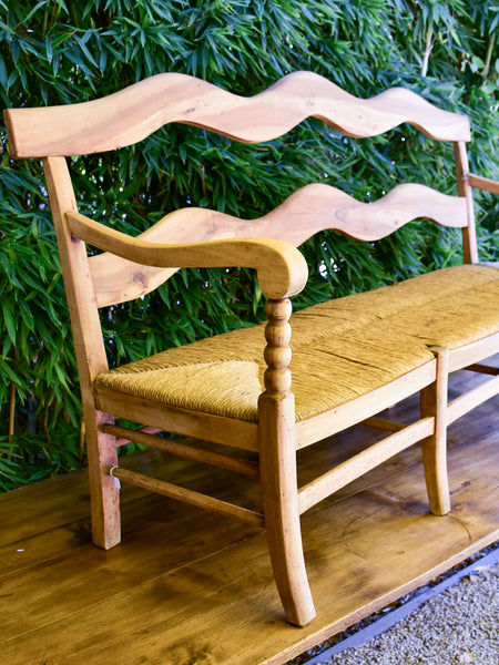 Antique French Provincial bench - walnut and straw