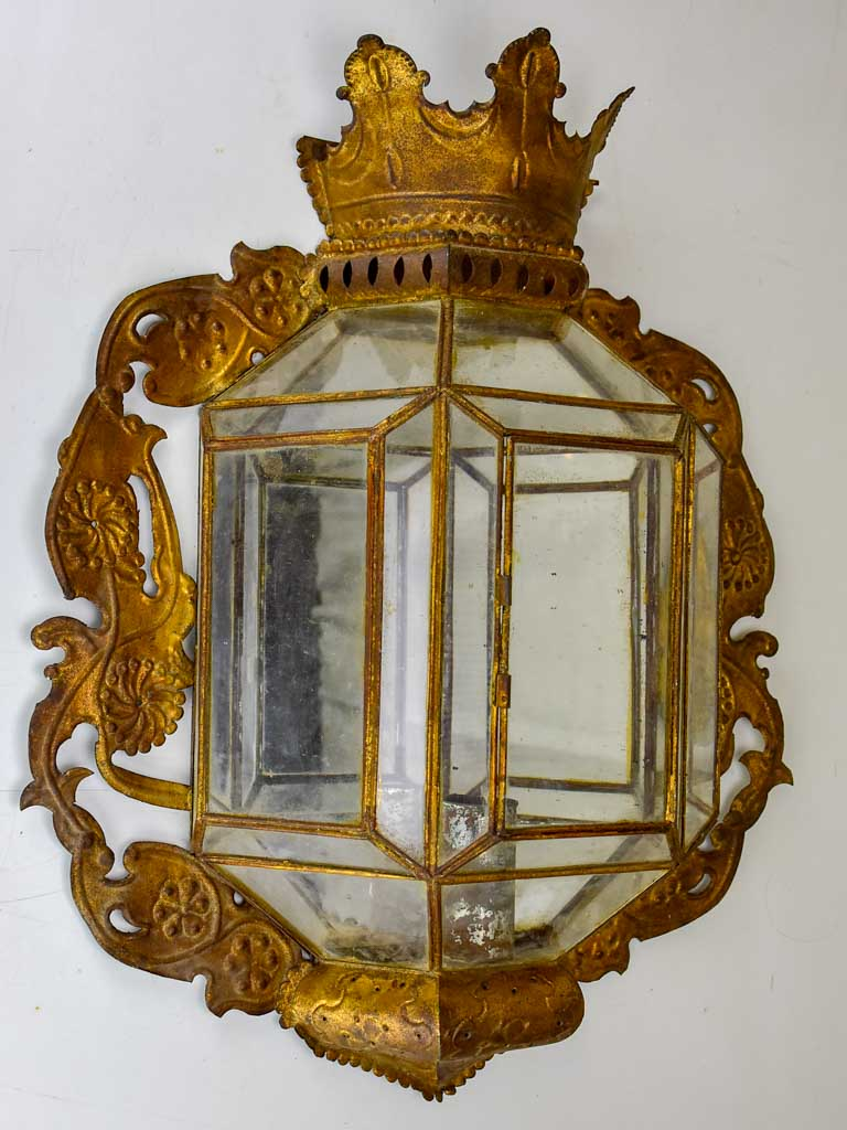 Pair of large antique French wall sconces - mirrored