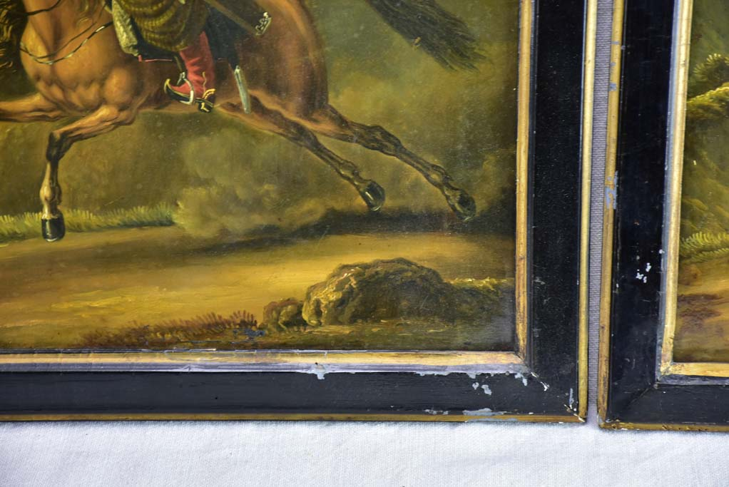 "Rare pair of oil on tole paintings of military men on horseback 18"" x 15¼"""