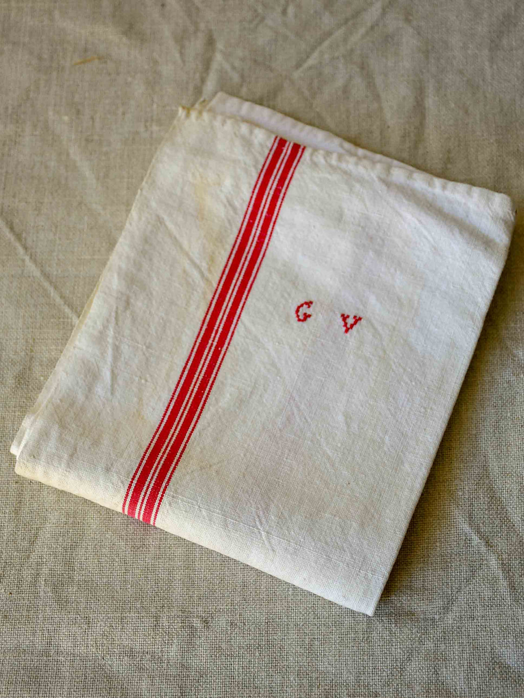 Antique French tea towel with GV monogram
