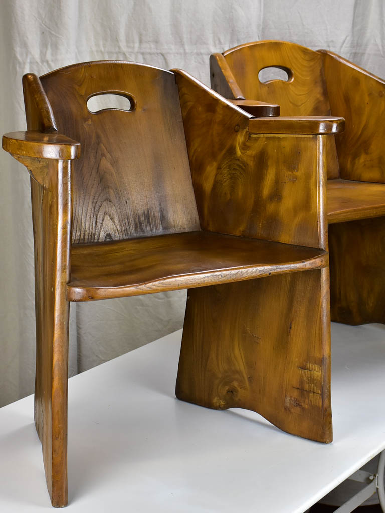 Pair of modernist French armchairs - elm wood
