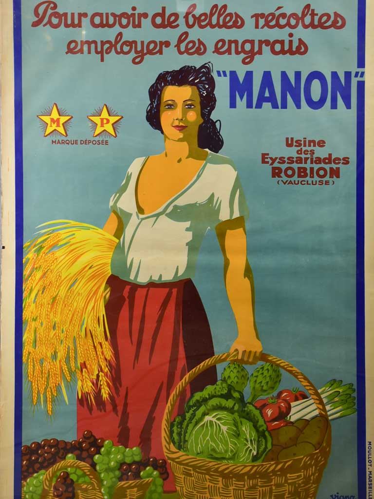 Large vintage French poster, Viano Moullot, Marseille