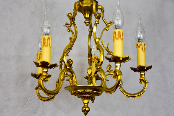 Vintage French gilded bronze chandelier - Lucien Gau