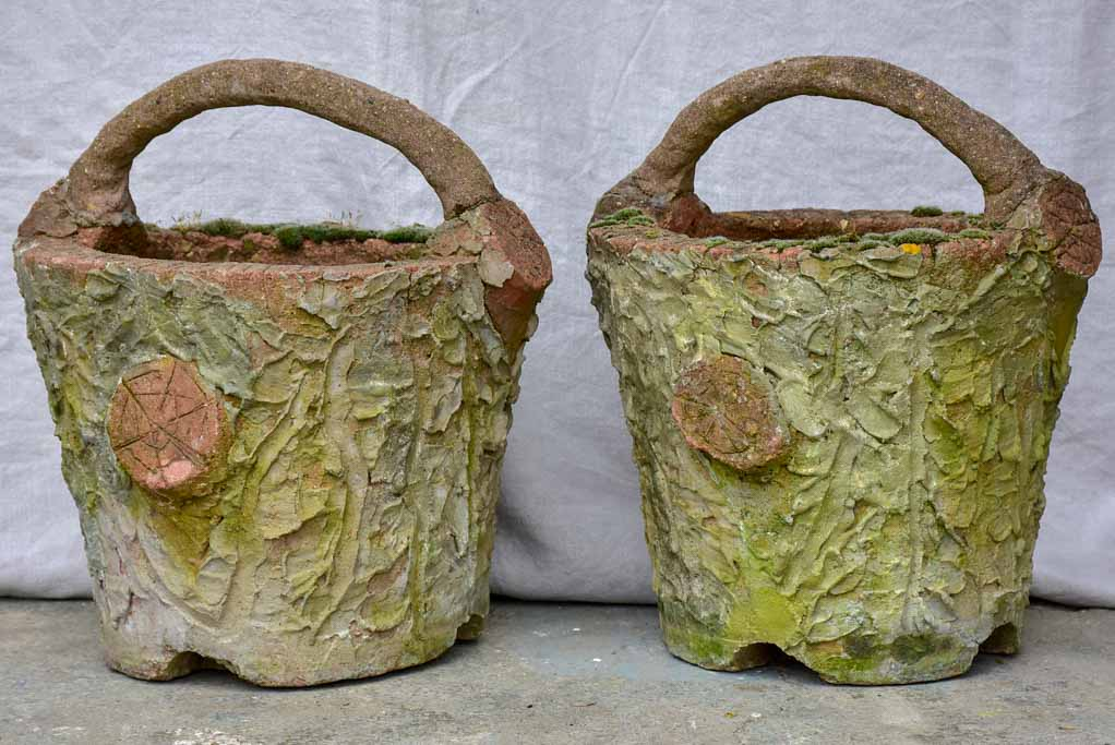 Pair of early 20th Century French faux bois basket planters