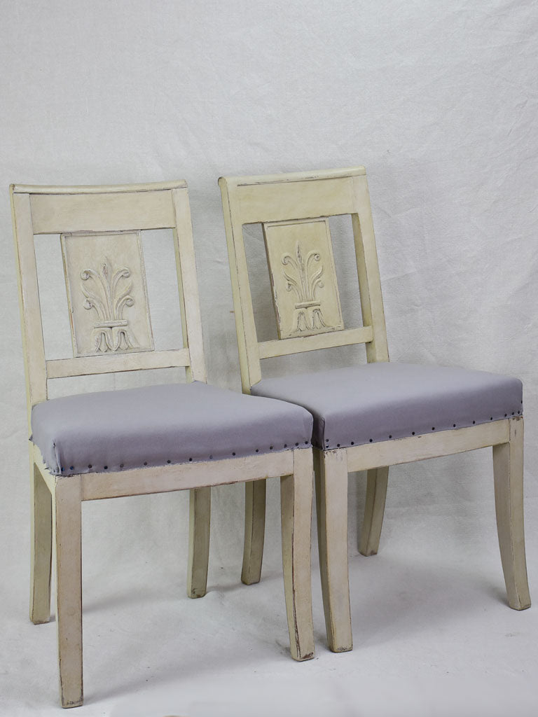 Set of eight early nineteenth-century French dining chairs