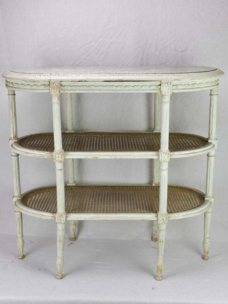 "Antique French Louis XVI style oval side table with marble and cane 32¼"" x 15¾"""