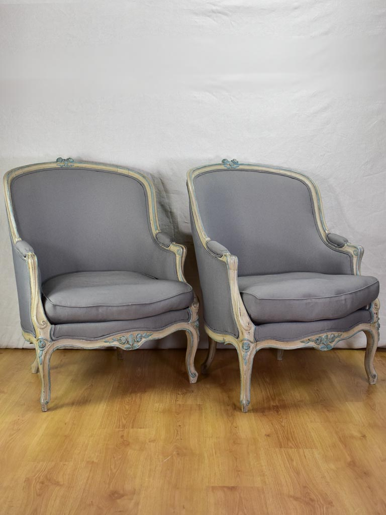 Pair of late nineteenth-century Louis XV style French Bergere armchairs