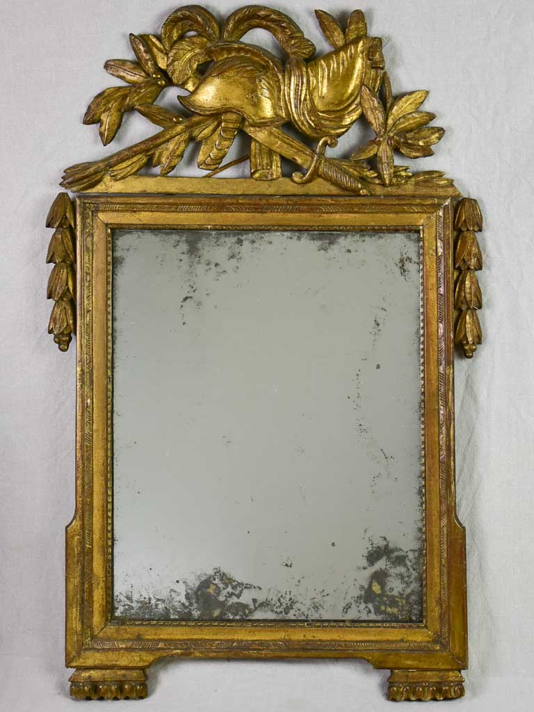 "Rare 18th Century French Revolution mirror with combat helmet in crest 39½"" x 25¼"""