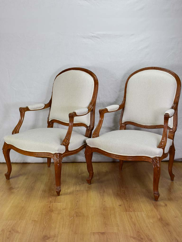 Pair of Transition style late 19th century armchairs