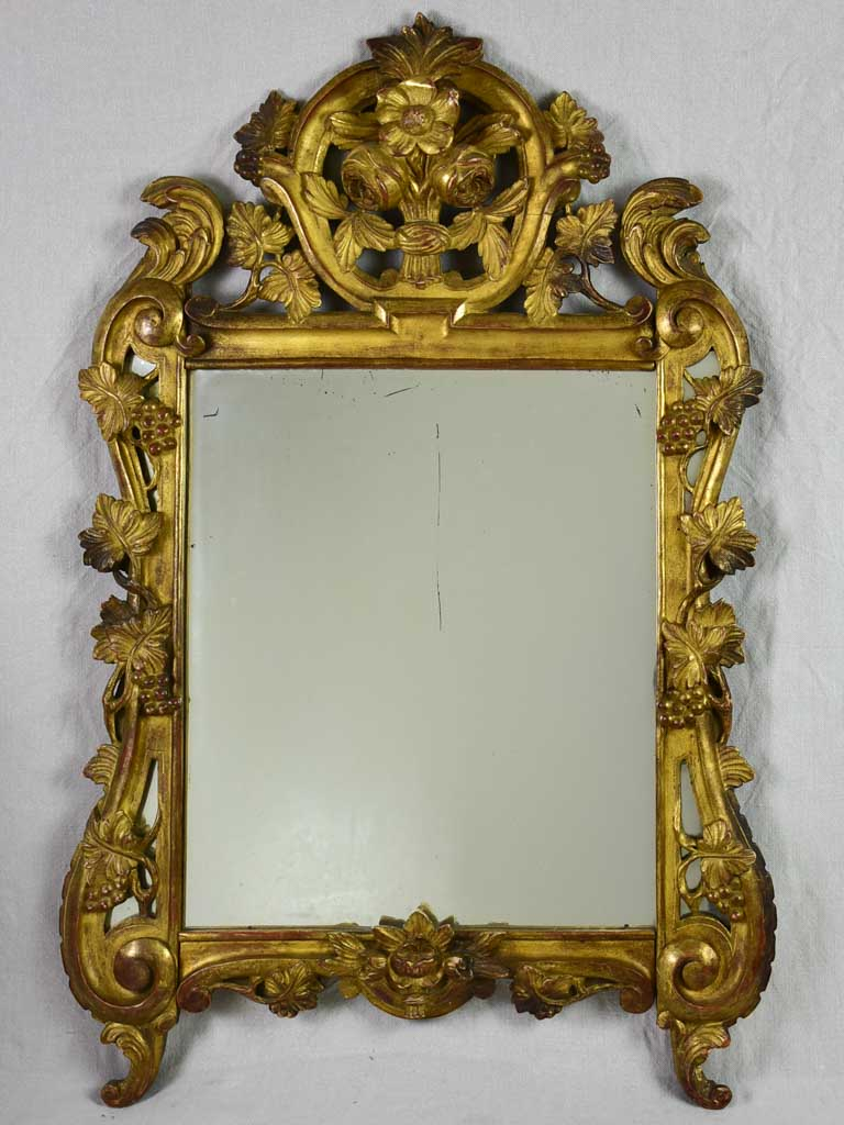 "French provincial mirror decorated with grape vines and roses. 1940's. 26½"" x 41"""