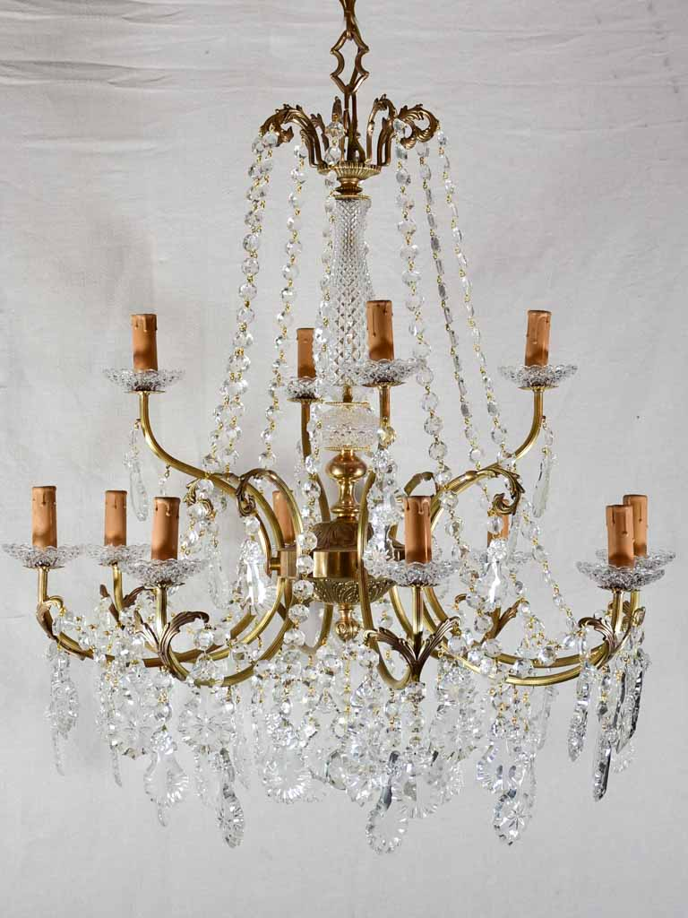"Crystal and brass 12 light chandeliers from the 1940's - 27½"" x 43¼"""