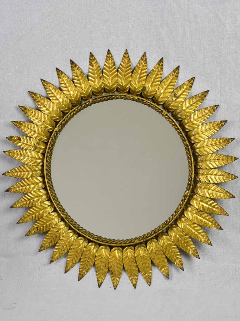 Mid century sunburst mirror - gold leaves 19""