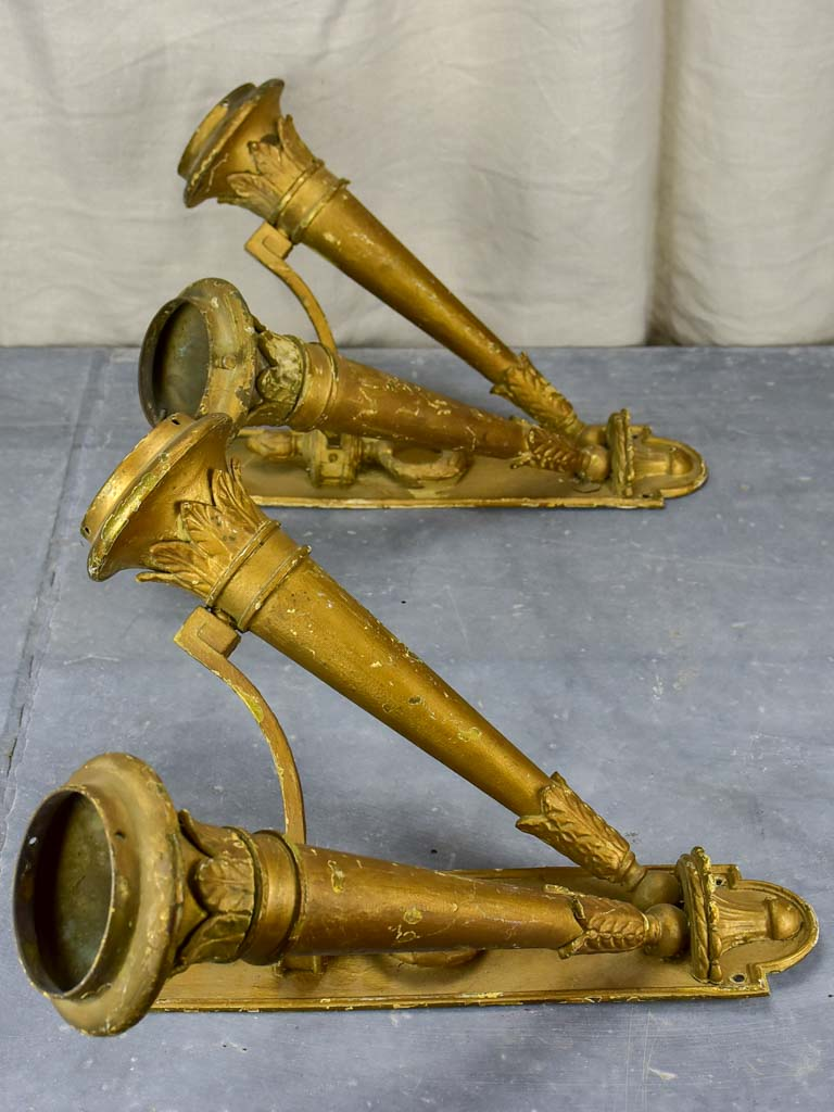 Pair of antique French torch wall sconces