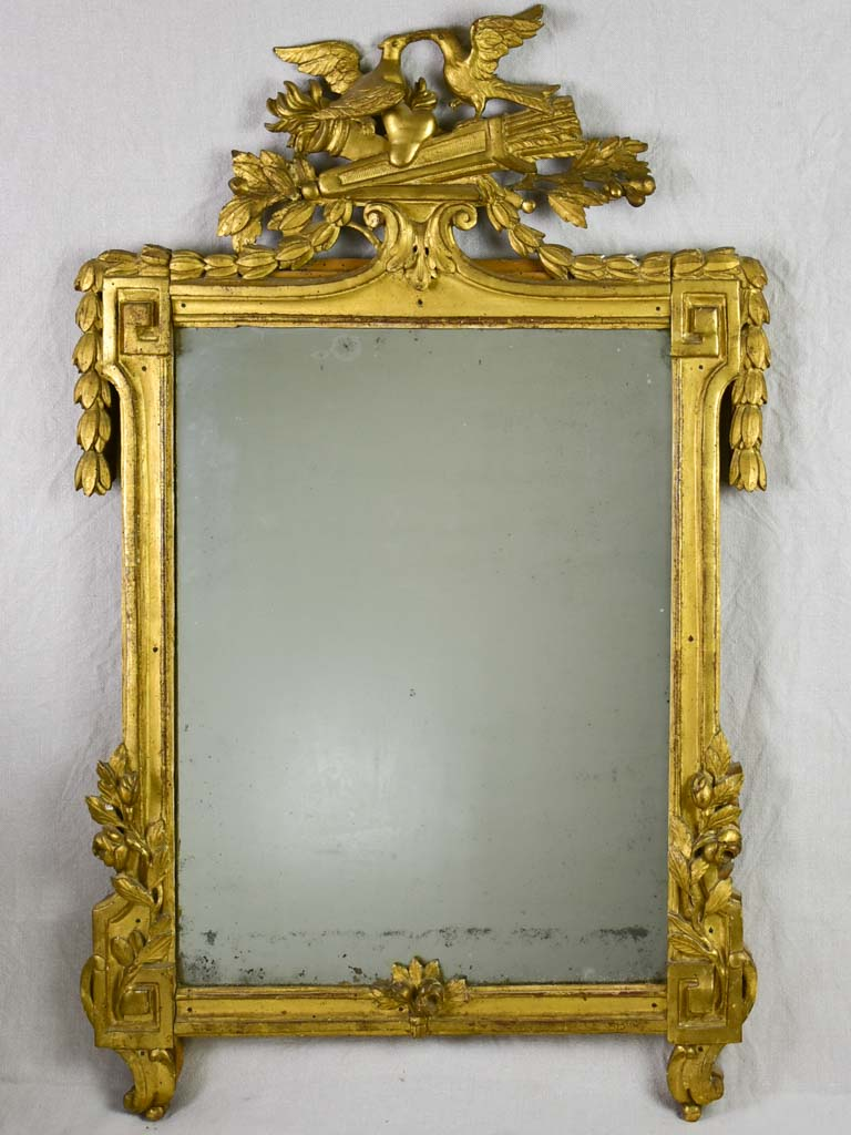 18th Century Louis XVI / Directoire giltwood mirror with birds, olive leaves and roses 26¾ x 41¾""""