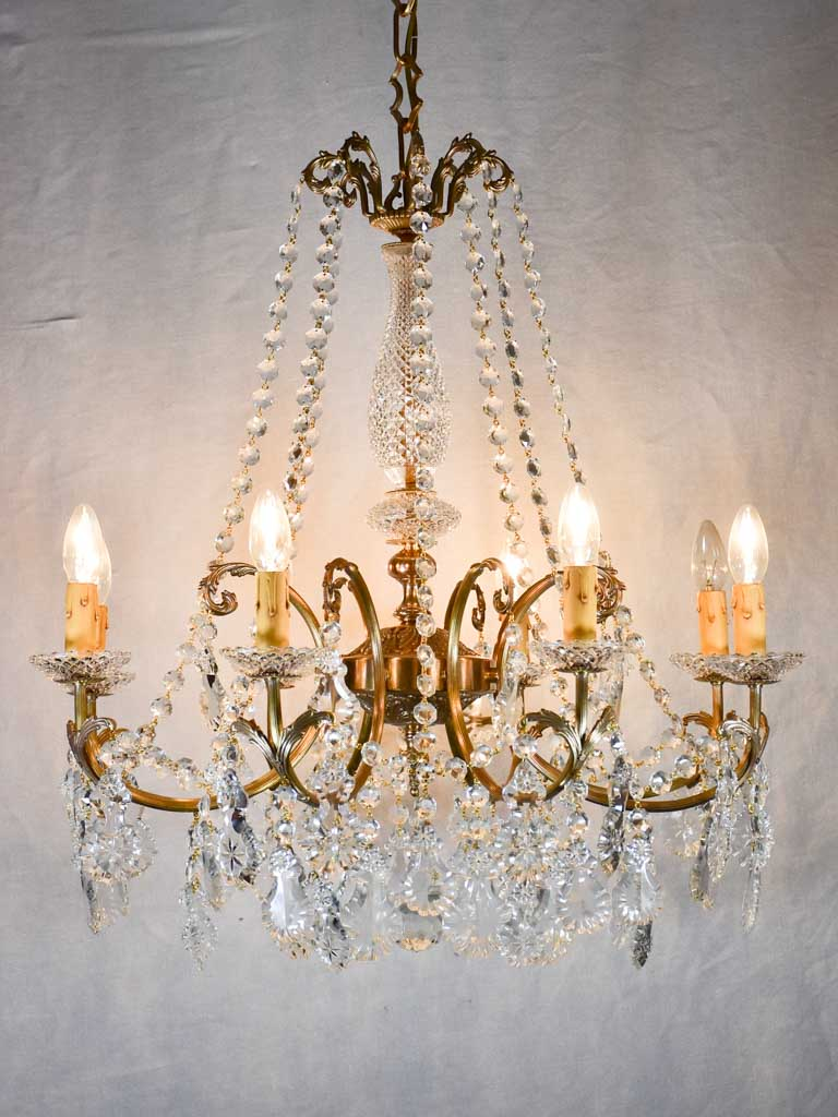 "Pair of crystal and brass chandeliers with 8 lights - 1940's - 27½"" x 43¼"""